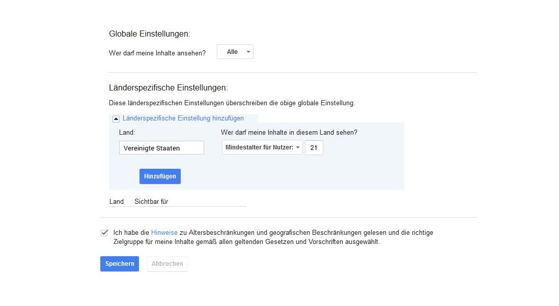 Google Plus Altersbeschränkung
