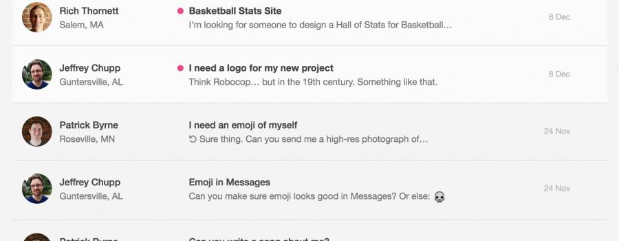 dribbble hire me messages