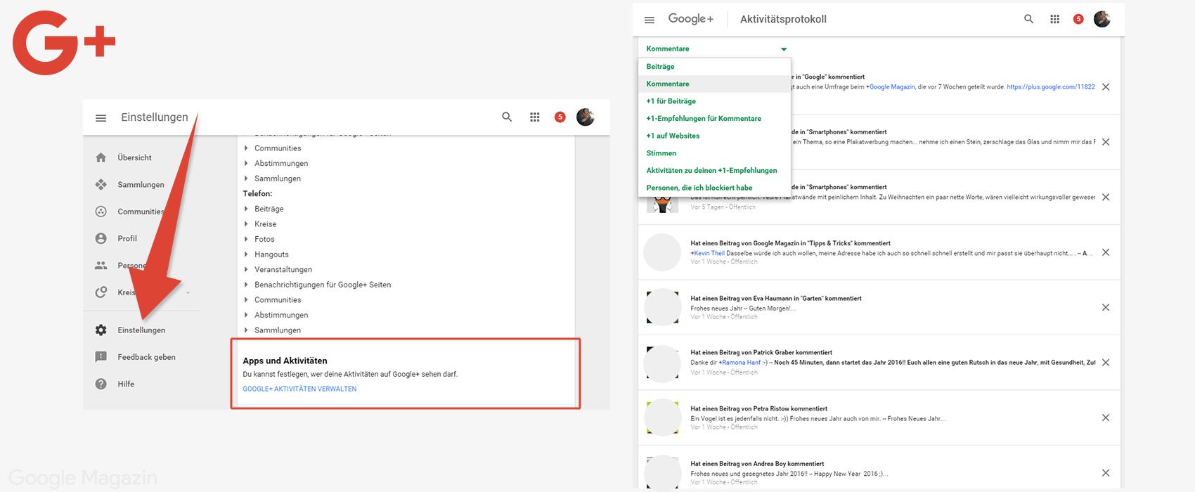 google plus aktivitätsprotokoll