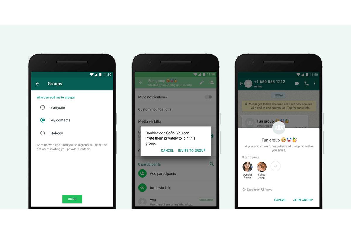 whatsapp gruppen privatsphäre-option